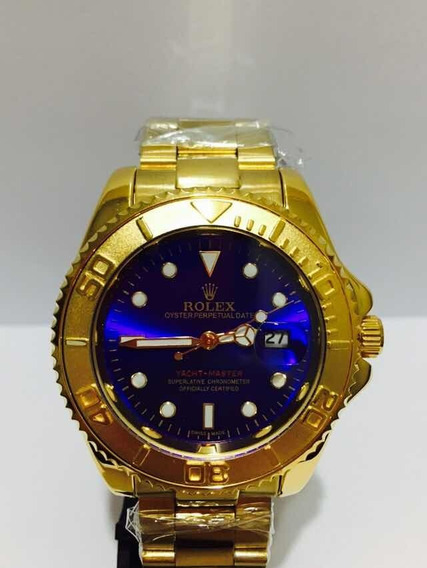 Relógio Submariner Yacht-master Gold Blue