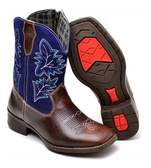 Bota Country Infantil Texana Masculina 100% Couro 020 Ps