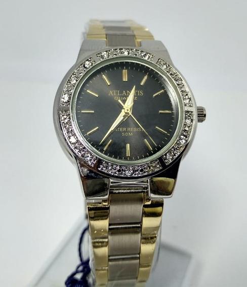 Relógio Prata Fundo Preto Com Strass Atlantis - W3261