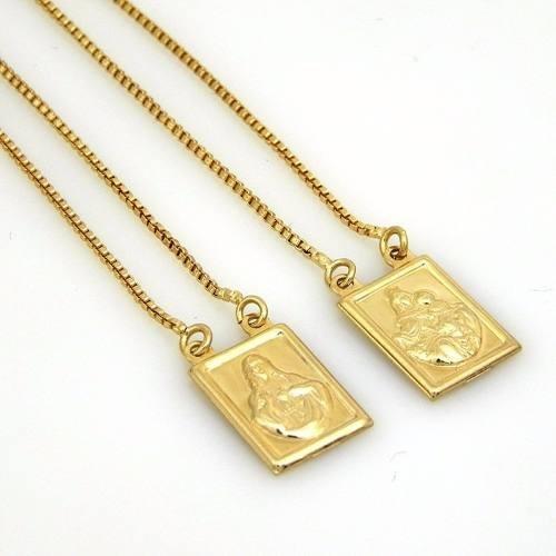 Escapulário De Ouro Amarelo Puro 18k Joiaskilate