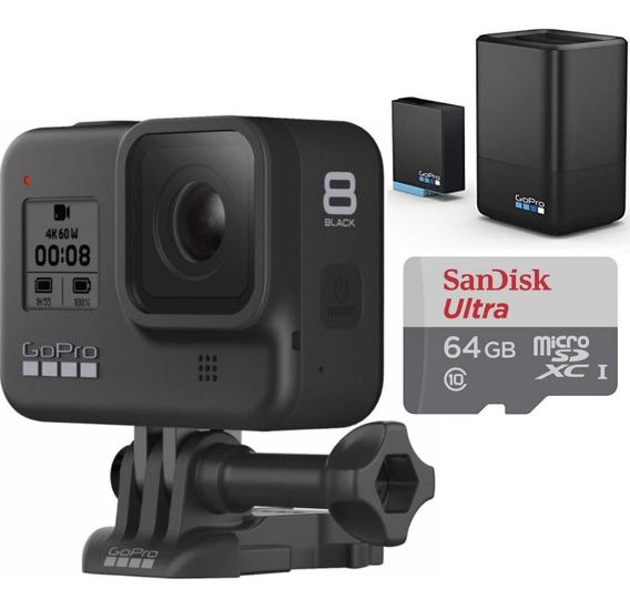 Câmera Gopro Hero 8 Black + Carregador Duplo + Cartão 64 Gb