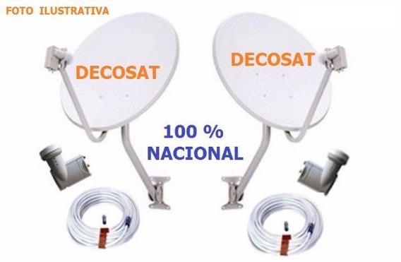 Antena Ku 60 Kit 02 + Lnb Duplo + 20 Mts Cabo + Conectores