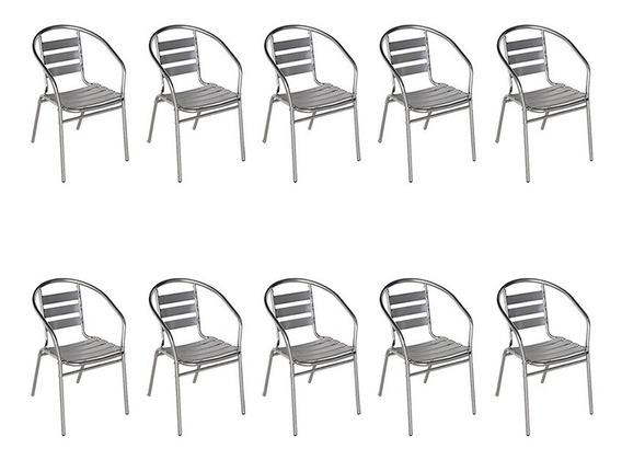 10 Poltronas Cadeiras Mor Alumínio Jardim Áreas Externas