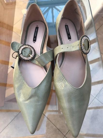 Balerinas Chatitas Marca Zara Talle 41 De Cuero Color Verde