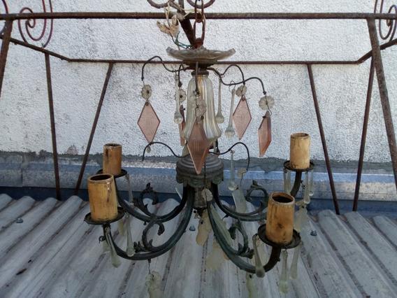 Antigua Araña 5 Luces En Bronce Con Caireles A Reciclar