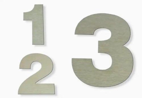 Número Domiciliario 12cm Casa Edificio Acero Inoxidable X 3u