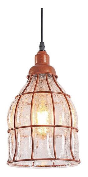 Pendente Luminaria Aramado E Vidro Loft Retro Cobre Inl41