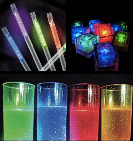 Combo Bar Luminoso Barra 12 Pers Vasos Sorbetes Hielos Led