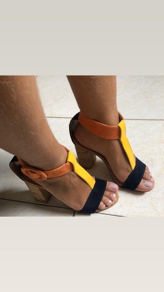 Sandália Tamanco Salto Anabela Conforto De Amarrar Up Shoes