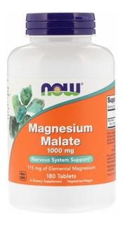 Magnesio Malate , Now Foods, 1000 Mcg, 180 Caps! E U A