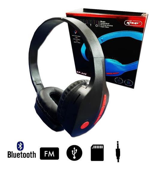 Fone Ouvido Sem Fio Micro Sd Mp3 Kp-440 Bluetooth Knup