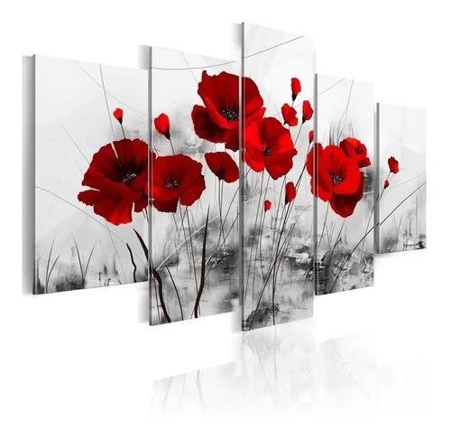 Quadro Decorativo 5 Peças Sala  Quarto Flor Papoula Vermelha