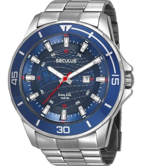 Relógio Masculino Seculus Prata 28994g0svna2 Visor Azul