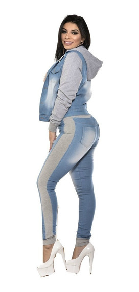 Jaqueta Jeans Feminina Mangas De Moletom Moda Inverno 2019