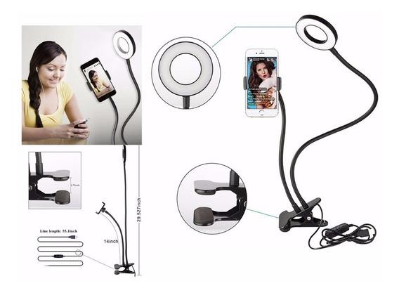 Suporte Celular + Ring Light Para Selfie Com Luminária Led