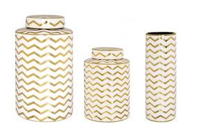 Kit 2 Potiche + 1 Vaso Em Cerâmica Dourado C/ Branco - Mart