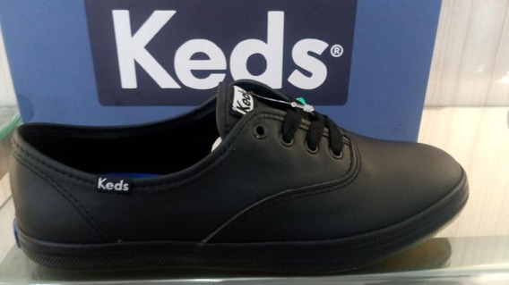 Kd102256 - Tênis Keds Champion Leather Preto Couro Original