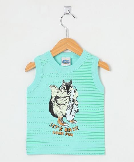 Camiseta Regata Infantil Bicho Bagunça Esquilo Fun