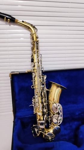Saxofone Alto Dolphin Mib Dourado Completo Revisado