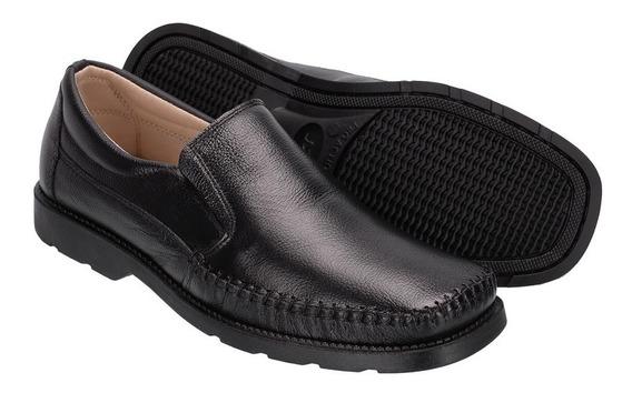 Sapato Masculino Dockside Sapatilha Em Couro Black Conforto