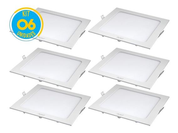 Kit 6 Painel Plafon Led 18w Embutir Quadrado Branco