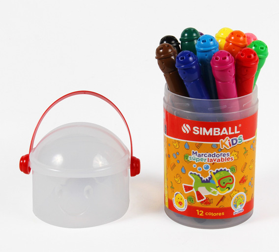 Marcadores Súper Lavables Simball Kids Tubo X12