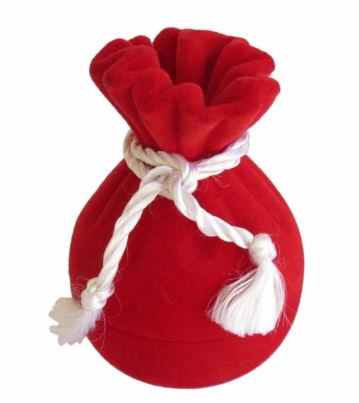 Caixa Para Anel Formato De Saquinho (veludo) - Vermelho