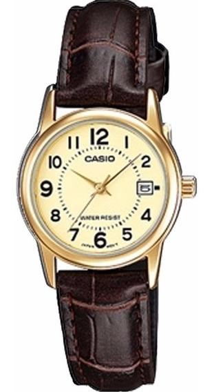 Relógio Casio Feminino Ltp-v002gl 9bu Dourado Couro Marrom