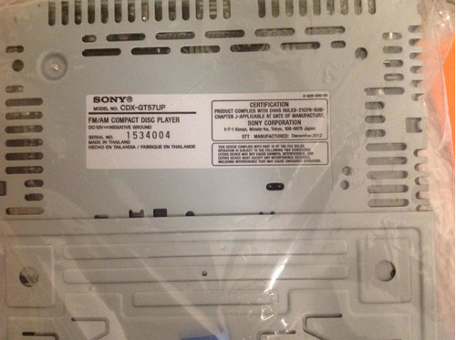 Stereo Para Auto Sony Fm/am Compact Disc Player Nuevo