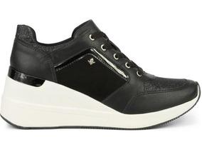 Tenis Sneaker Couro Feminino Flatform Cravo E Canela 161301