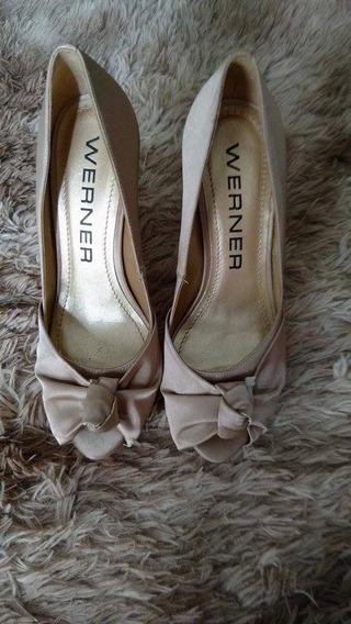 Sapato Peep Toe Cetim Werner - Tamanho 35