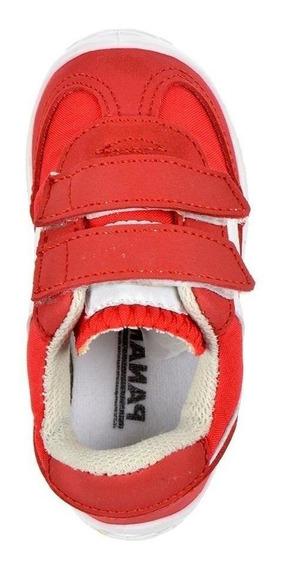 Calzado Niño Bebe Tenis Panam 084 Textil Rojo Con Velcro Comodo