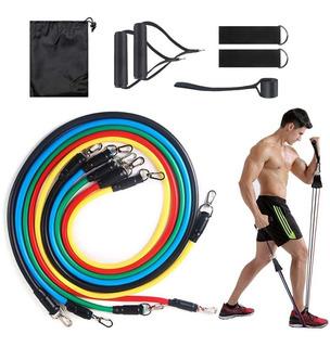 Elástico Musculação Treino Em Casa 5 Elásticos + Acessórios