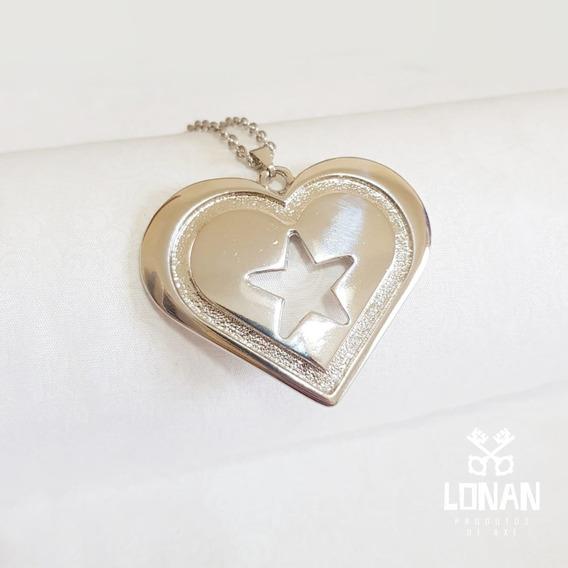 Colar Coração Estrela Prateado
