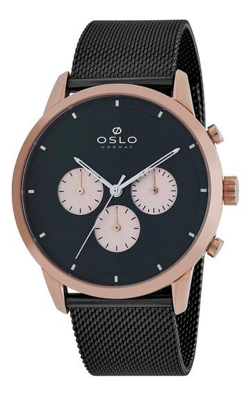 Relógio Masculino Rose Cronógrafo Oslo Slim Pulseira Preto