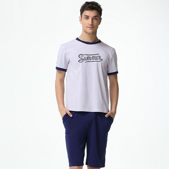 Homens Pajama Algodão Definir , Moda Carta Padrão T - Cami