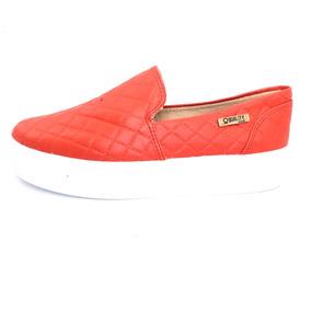 Tênis Flatform Quality Shoes Feminino 004 Vermelho Matelassê