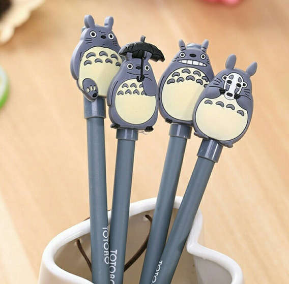 Kit 4 Canetas Escolar Gel Totoro Kawaii Super Fofas