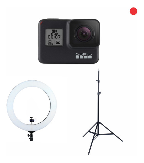 Kit Live Stream Gopro Hero 7 Black + Ring Led