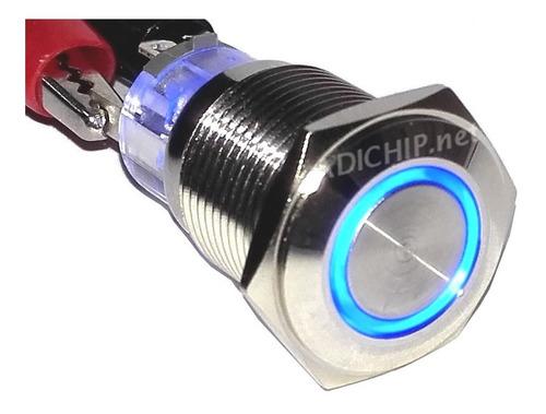 Boton Pulsador De Metal Led Con Retención - 16mm Azul