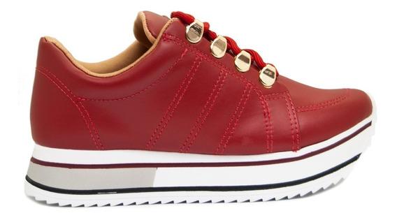 Zapatillas Mujer Cuero Ecológico Rojo Base Alta (71101)