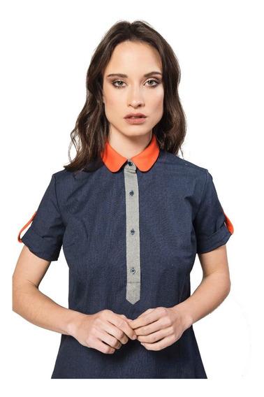 Camisa Tipo Chomba Azul Marino Con Naranja Giacca