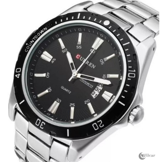 Relógio Masculino Curren 8110 - Prata/fundo Pto