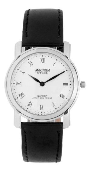 Relógio Magnum Masculino Slim Ma20367q Prata Couro Oferta