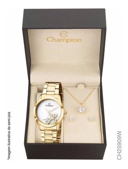 Kit Relógio Champion Analógico Feminino Dourado