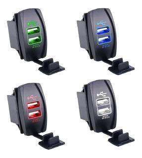Switch Cargador Doble Usb Iluminado 12v Para Auto 5v 3.1a