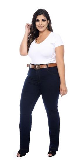 Calça Jeans Plus Size Feminina Cintura Alta Com Lycra Strech
