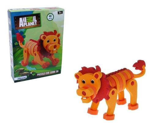 Figura Puzzle 3d, 48 Piezas Leon Animal Planet