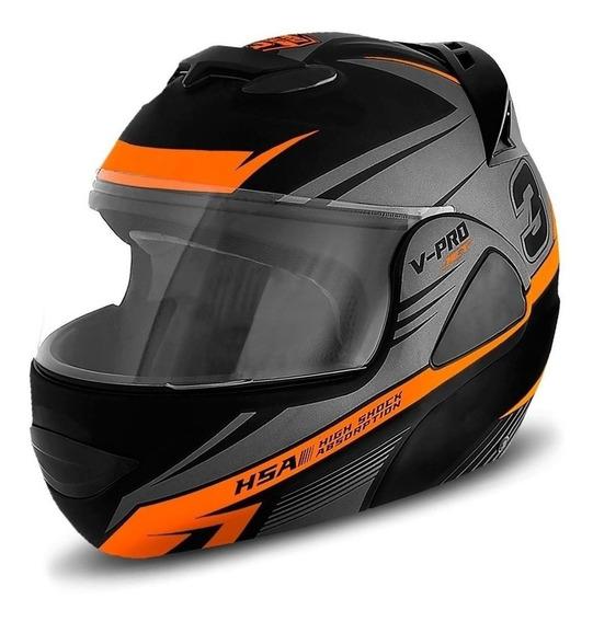 Capacete para moto escamoteável Pro Tork V-Pro Jet 3 cinza/laranja XL