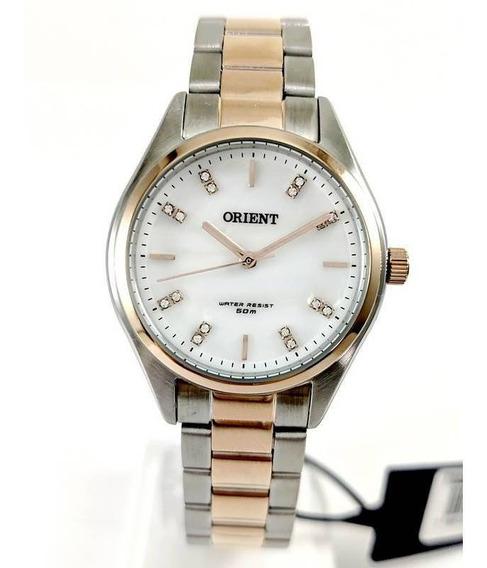 Relógio Orient Feminino Rose Gold Swarovski Ftss0054 Wr50m